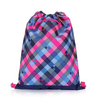 Tiger Family探險家輕巧束口背包-藍莓方格