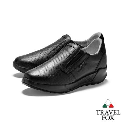 TRAVEL FOX(女) 四季歐陸系列  沖洞牛皮直套厚底GRITEX進口休閒鞋 - 入手黑