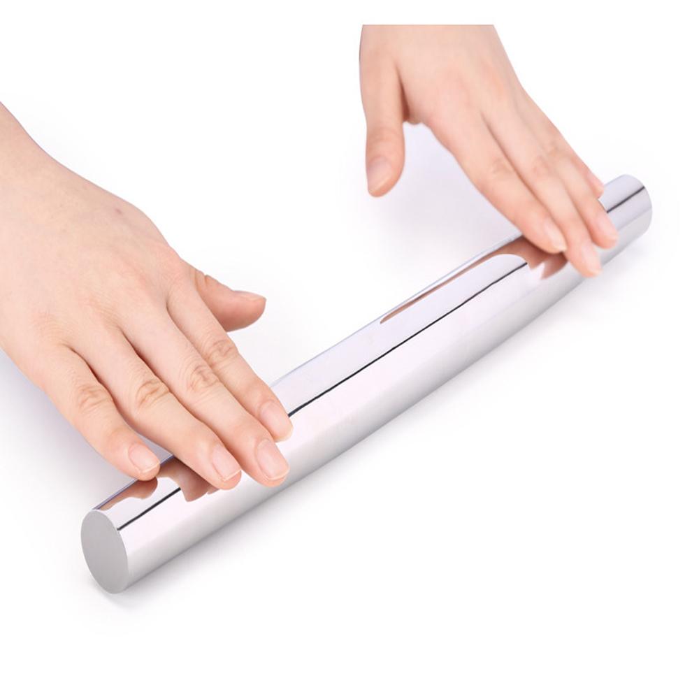 PUSH!廚房用品304不鏽鋼桿麵棍餃子皮桿麵棒D180