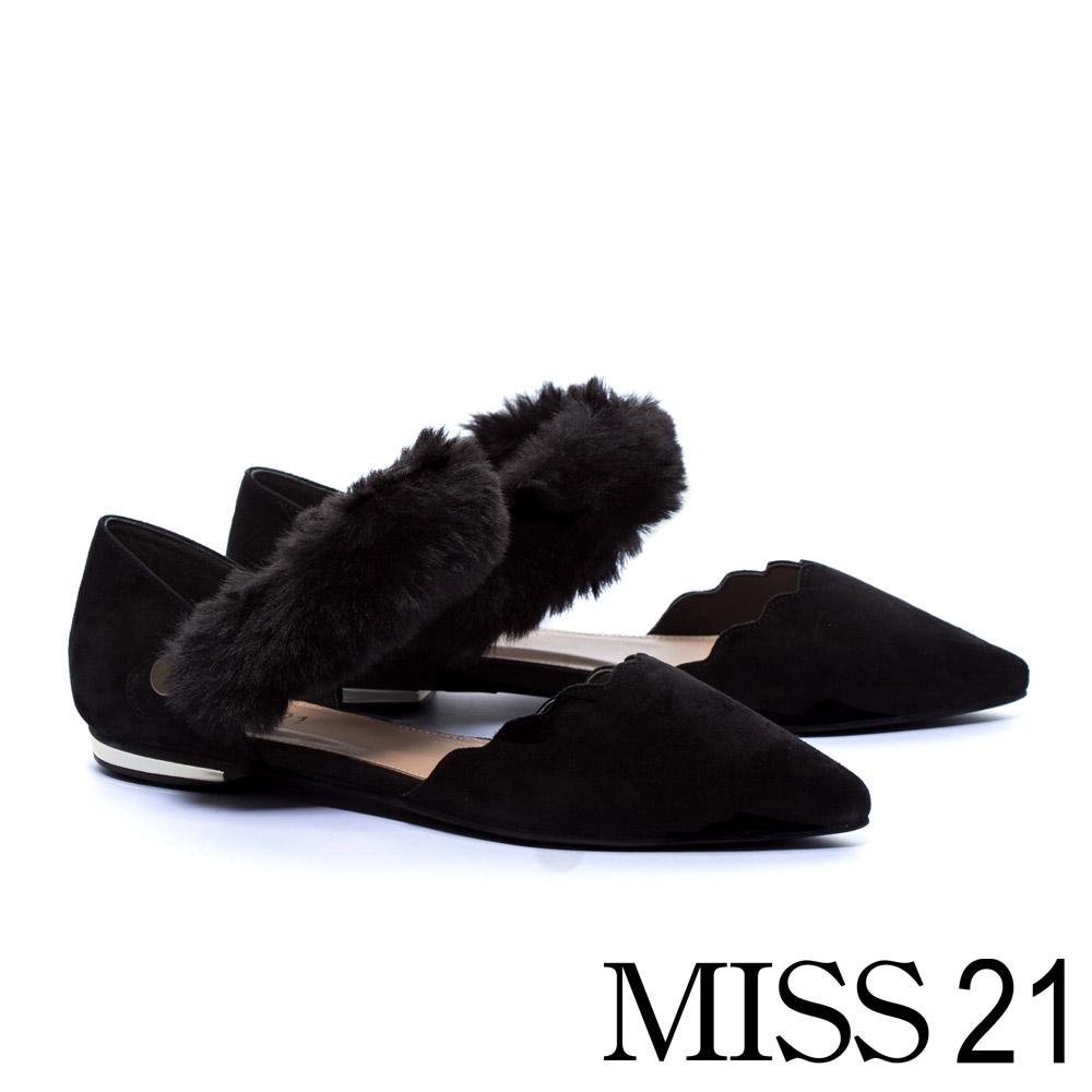 平底鞋 MISS 21 復古奢華毛毛條帶羊麂皮尖頭平底鞋-黑