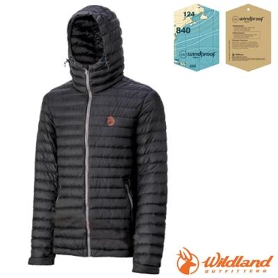 荒野 WildLand 男款 輕時尚連帽羽絨外套(保暖係數高達700FP).夾克_黑