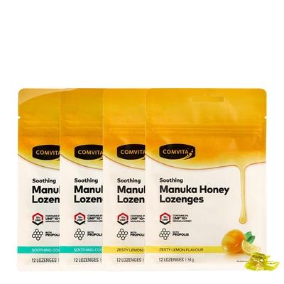 【Comvita 康維他】蜂膠麥蘆卡蜂蜜潤喉糖12粒綜合4包組