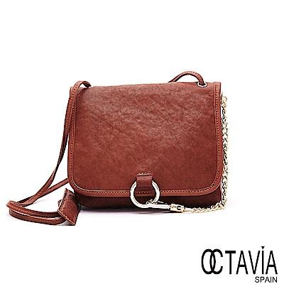 OCTAVIA 8 真皮 - 卡門之舞 環扣鍊條羊皮肩斜背包  - 熱情棕