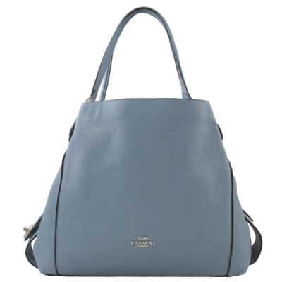 COACH 專櫃款金屬logo荔枝牛皮三層造型肩背包(淺藍)