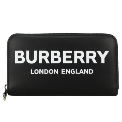 BURBERRY 滑面牛皮 PRINT 字母ㄇ字拉鍊長夾(黑)