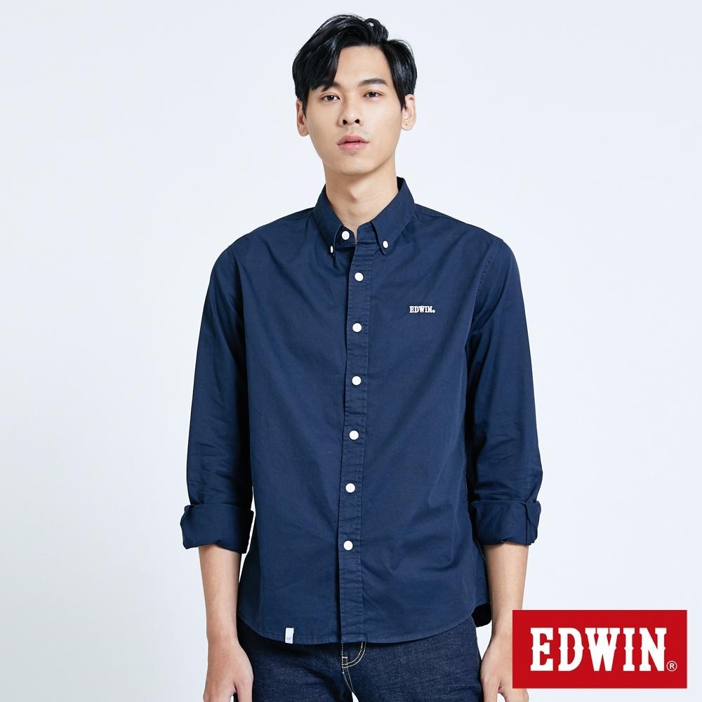 EDWIN 復古基本款長袖襯衫-男-丈青