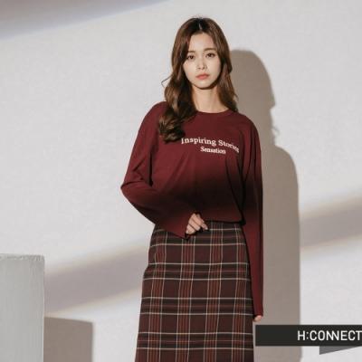 H:CONNECT 韓國品牌 女裝-標語印字棉質上衣-棕