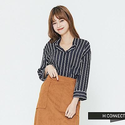 H:CONNECT 韓國品牌 女裝-半開襟直條紋襯衫-藍