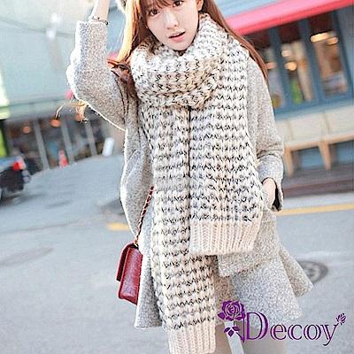 Decoy 加厚粗針織 混色毛線保暖圍巾 白黑