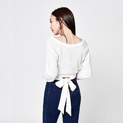 SUITANGTANG 後綁帶設計長袖上衣-白