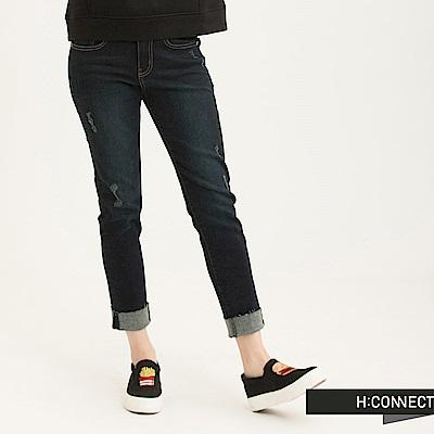 H:CONNECT 韓國品牌 女裝-微破抽鬚男友牛仔褲-藍(快)