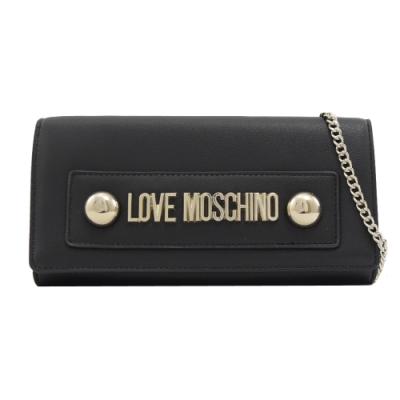 MOSCHINO LOVE系列大金屬LOGO可斜背式長夾(黑)