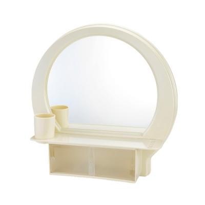 浴室壁式粉牙附杯半圓化妝鏡