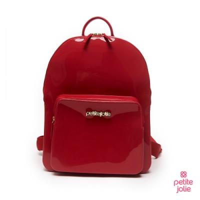 Petite Jolie--學院風背帶果凍雙肩包-紅色