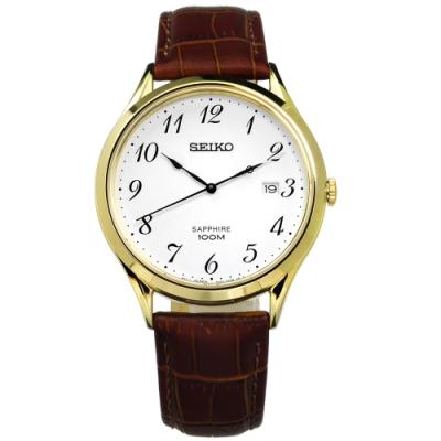 SEIKO 精工 簡約 藍寶石水晶 防水 真皮手錶-白x金框x咖啡/40mm