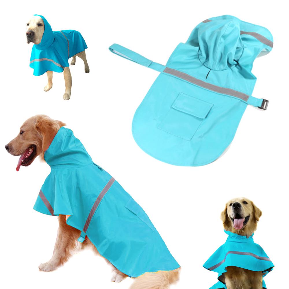 摩達客寵物系列-寵物大狗小狗透氣防水雨衣(淺藍色/反光條)
