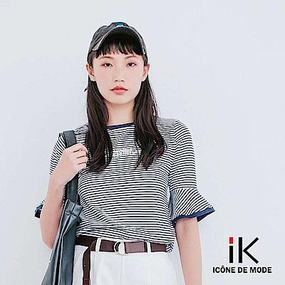 iK-百搭橫條紋字母印花喇叭袖T恤上衣