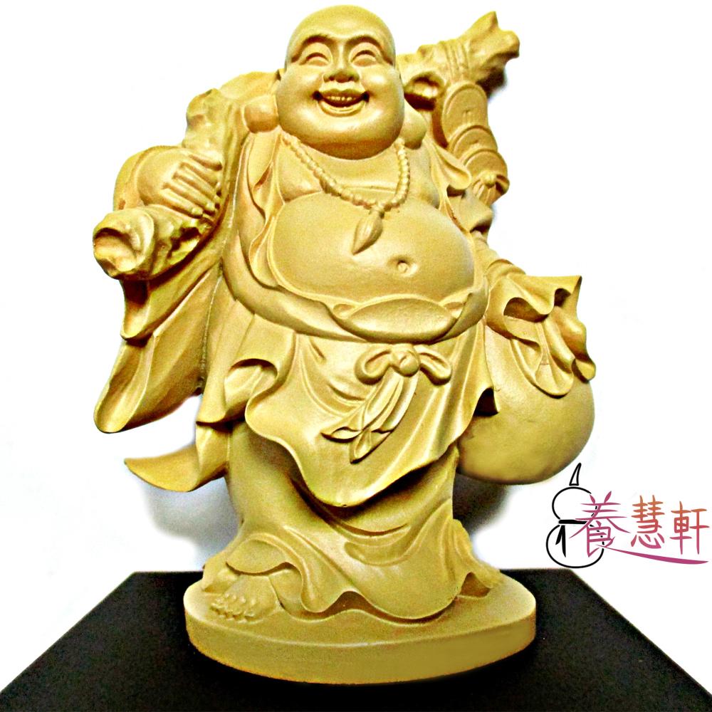 養慧軒 金剛砂陶土精雕佛像 彌勒佛(木色)(高12公分)