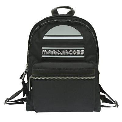 MARC JACOBS Sport Logo 雙拉鍊尼龍後背包-黑色(大)