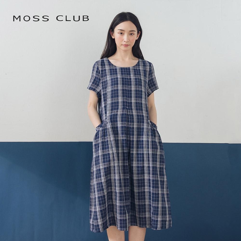 【MOSS CLUB】日系休閒寬鬆格紋口袋-洋裝(二色)