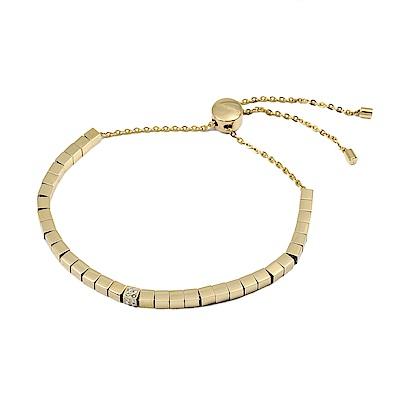 Calvin Klein CK TUNE扭轉方塊水晶金色可調節手鍊