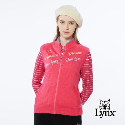 【Lynx Golf】女款保暖羊毛混紡彩色文字緹花領緣配色無袖立領背心-玫紅色