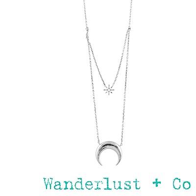 Wanderlust+Co 新月鑽石雙層項鍊 - 銀色