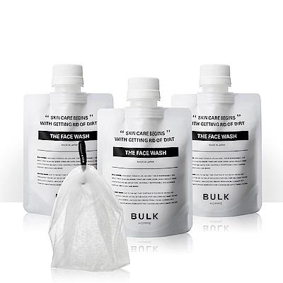 BULK HOMME 本客 洗面乳 潔顏霜 100g3入組加起泡網1個