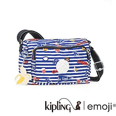 Kipling 斜背包 Emoji系列香蕉吊飾 條紋圖案-小