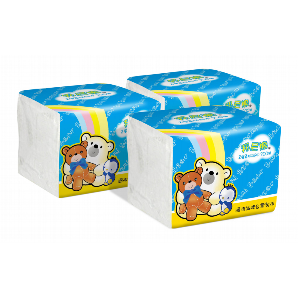 邦尼熊單抽式柔拭紙巾300抽x72包/箱