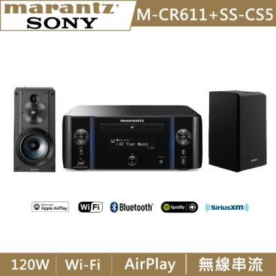 Marantz馬蘭士 網路CD收音擴大機 M-CR611 +SONY 立體聲書架式喇叭 SS-CS5