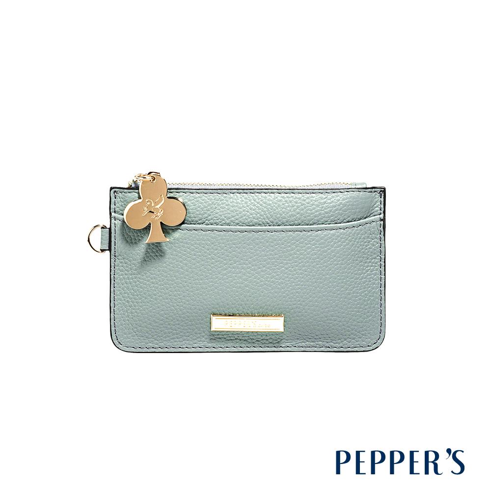 PEPPER`S Doris 牛皮鑰匙卡夾包 - 迷霧藍