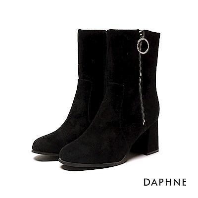 達芙妮DAPHNE 中筒靴-知性質感布面粗跟中筒靴-黑