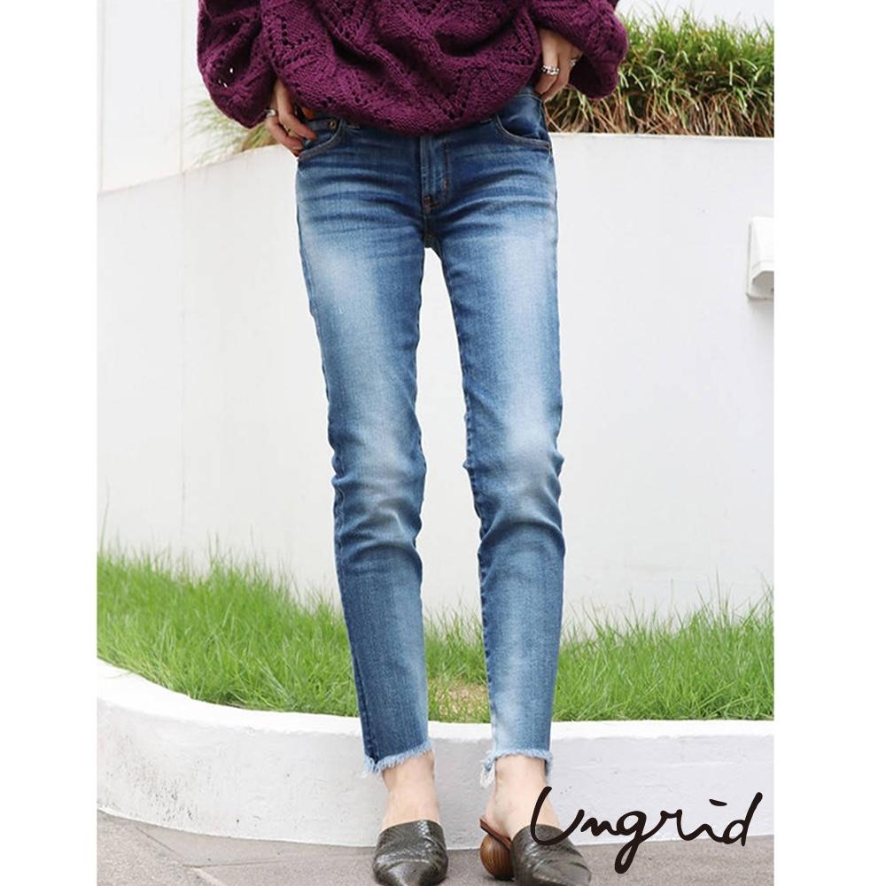 Ungrid 經典牛仔系列 - 刷色下擺抽鬚牛仔褲