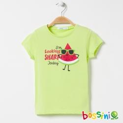 bossini女童-印花短袖T恤14霧綠