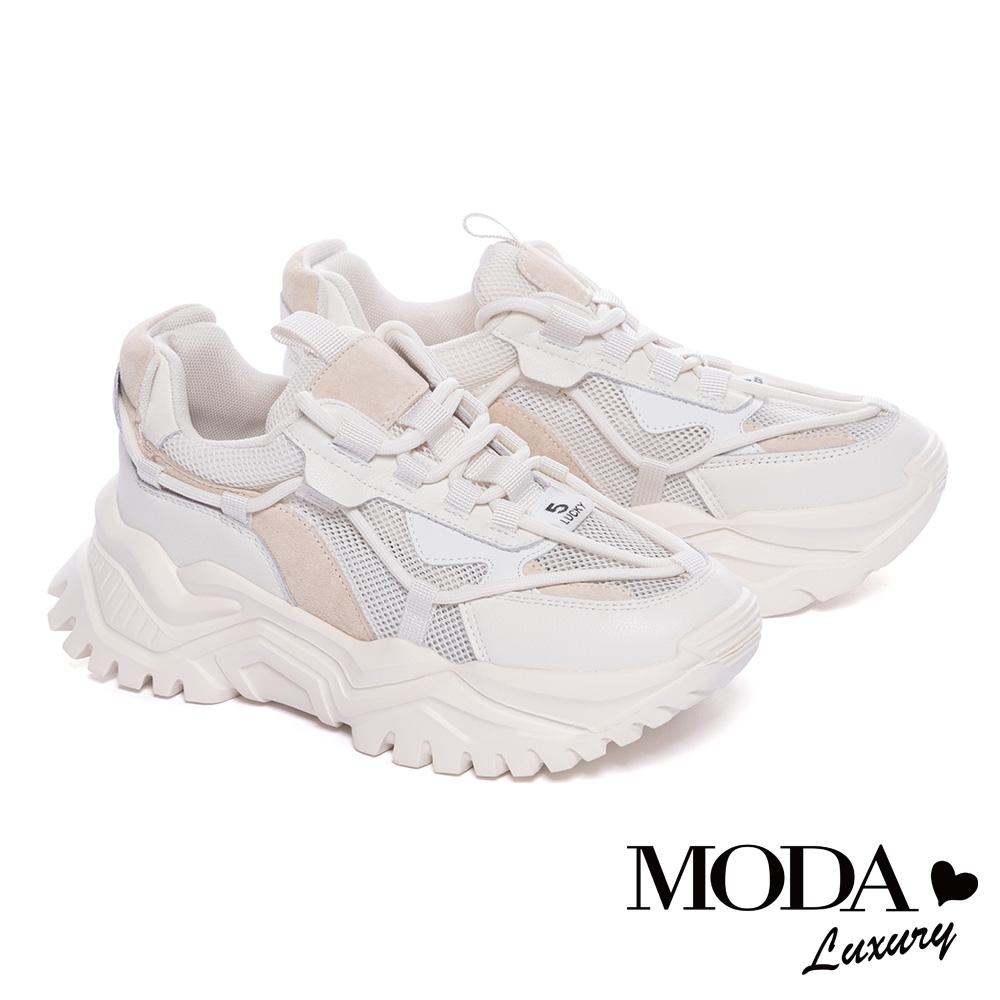 休閒鞋 MODA Luxury 甜美運動風異材質牛皮老爹厚底休閒鞋-白
