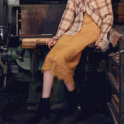 AIR SPACE 優雅蕾絲拼接絨布直筒長裙(黃)