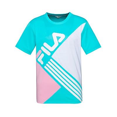 FILA 男款吸濕排汗圓領T恤-翠藍 1TET-1442-TQ