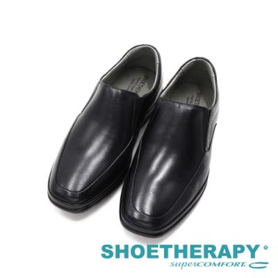SAPATOTERAPIA巴西FUSION方頭氣墊感彈力直套皮鞋 男鞋-黑
