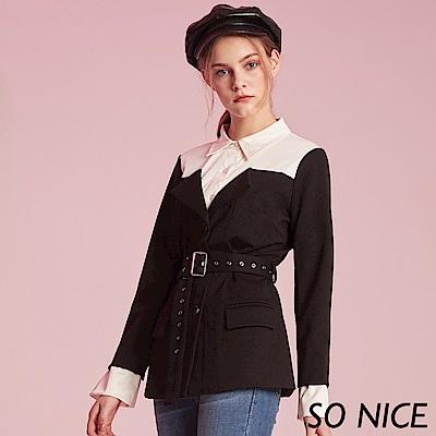 SO NICE都會感拼接假兩件長上衣 @ Y!購物