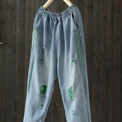 撞色破洞顯瘦哈倫牛仔褲寬鬆休閒九分褲-設計所在