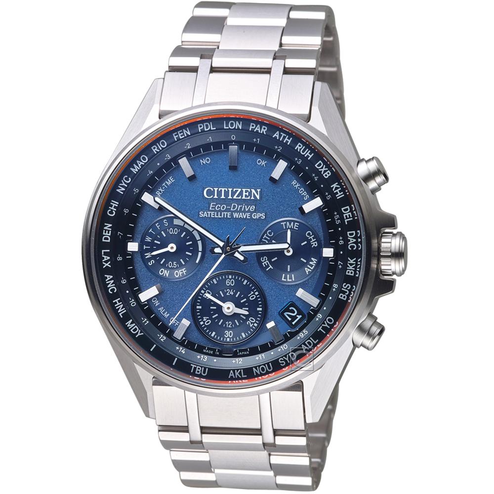 CITIZEN星辰 GPS 衛星對時鈦金屬廣告款腕錶(CC4000-59L)-藍