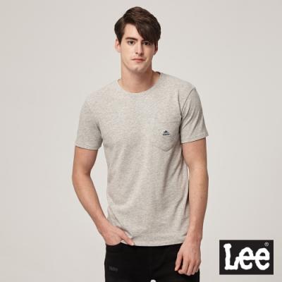 Lee短袖T恤 口袋LOGO織標圓領-灰-男