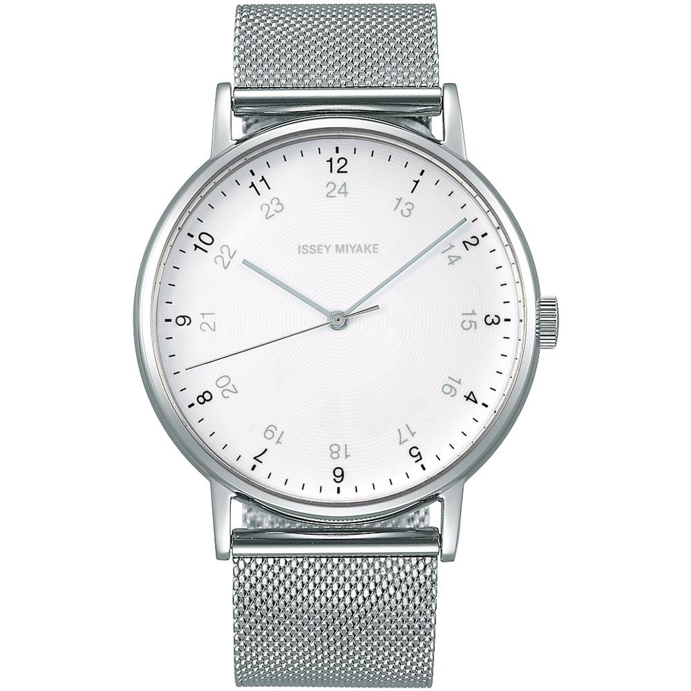 ISSEY MIYAKE 三宅一生f系列簡約百搭米蘭帶錶(NYAJ701Y)-銀/39mm