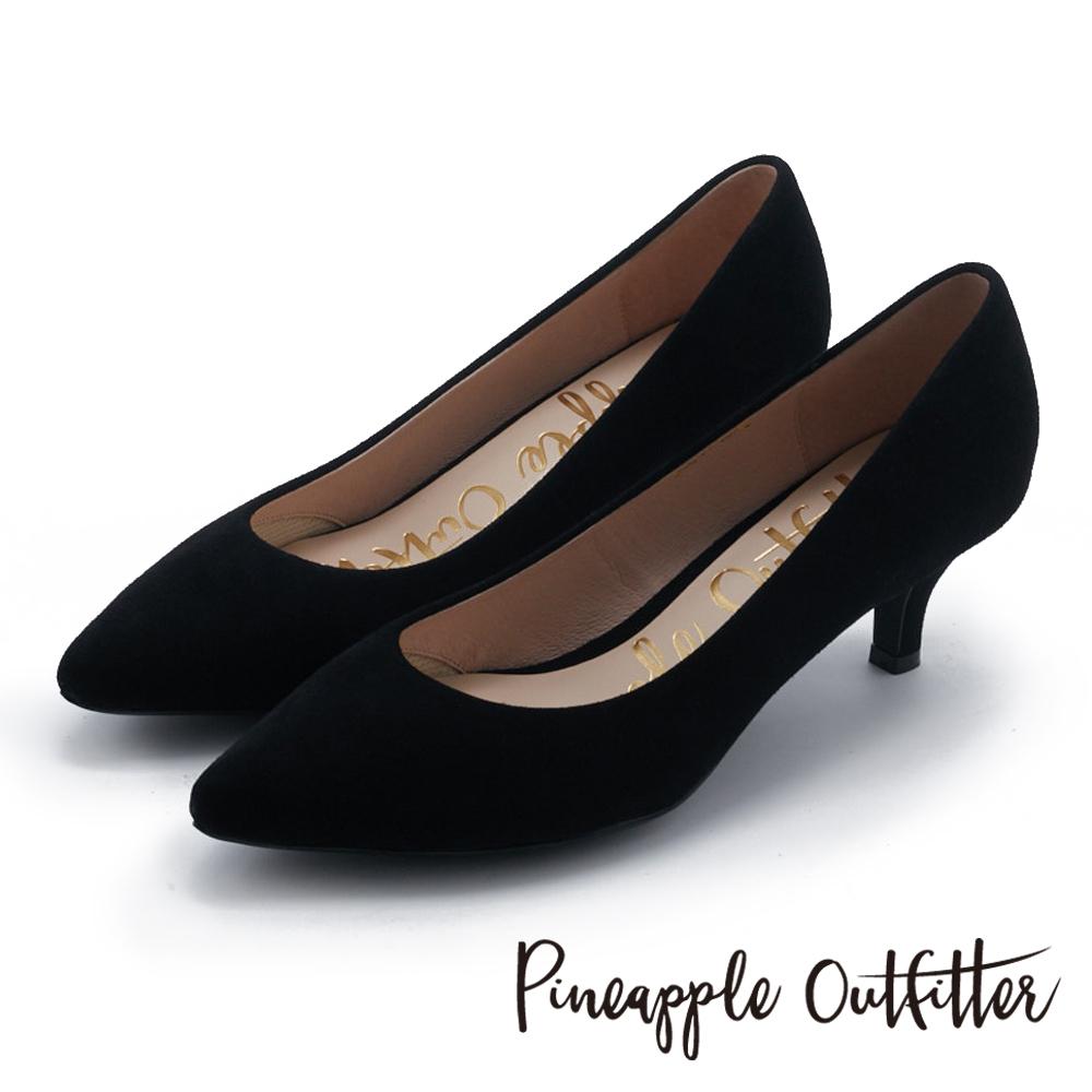 Pineapple Outfitter 簡約風尚 素面尖頭中跟鞋-絨黑