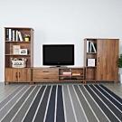 Homelike 摩登視廳三件組(電視櫃+二門櫃+鞋櫃) -柚木色-DIY