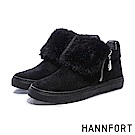 HANNFORT CAMPUS蓬蓬毛絨翻領厚底踝靴-女-蓬蓬黑