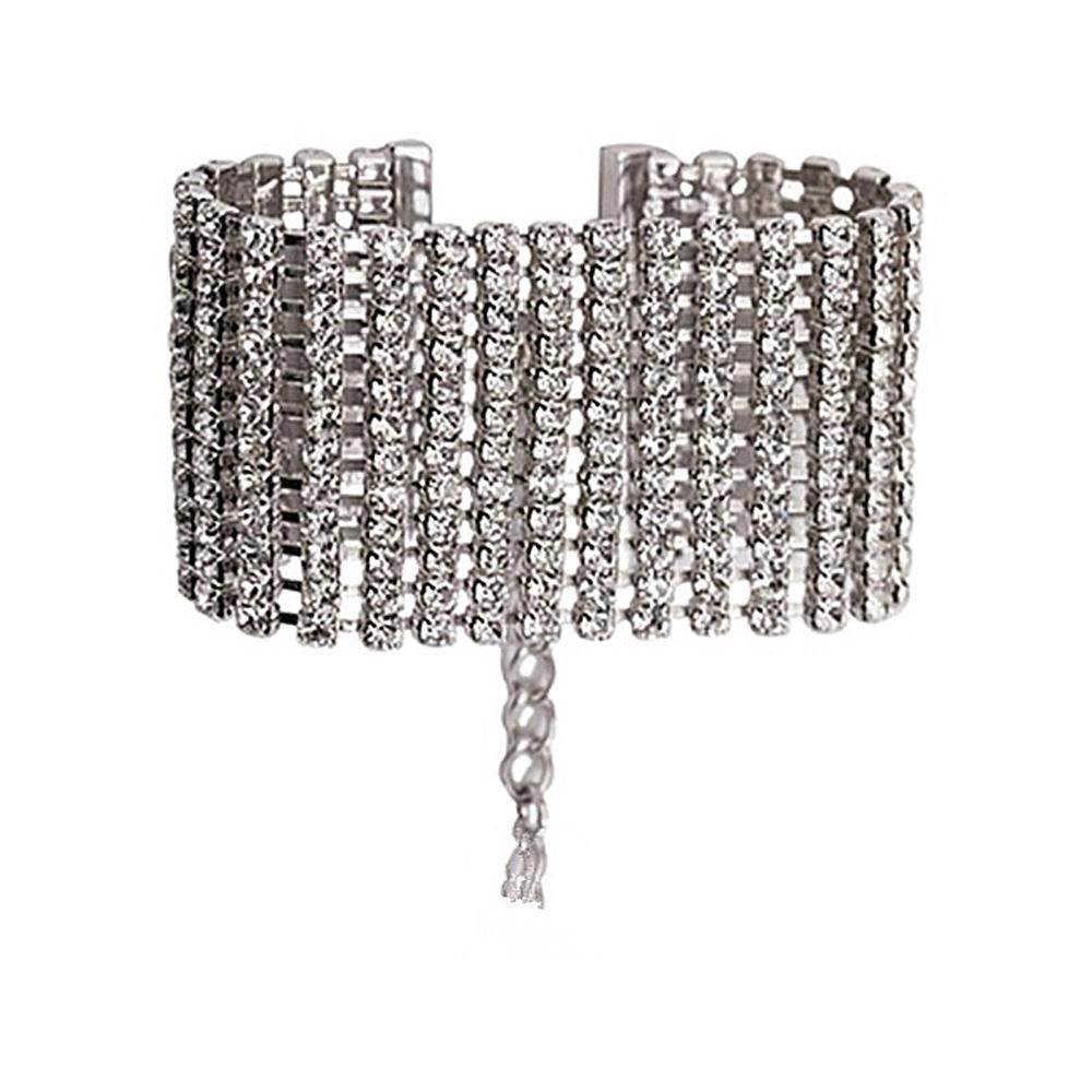 梨花HANA 韓國重工全鑽派對新娘寬版全鑽石手環