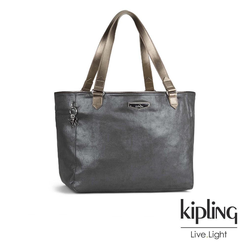 Kipling 低調奢華銀灰大容量手提側背包-LOTS OF BAG