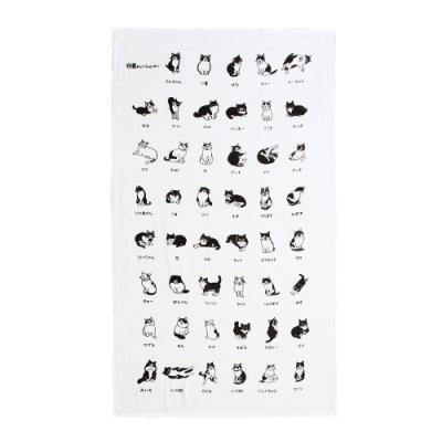 日本派迪 白黑先生紗布浴巾-貓咪環繞